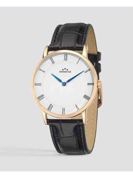 Rose Gold Black Leather Strap Watch