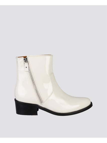 White Claralie Zip Ankle Boots