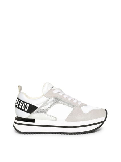White Contrast Metallic Sneakers