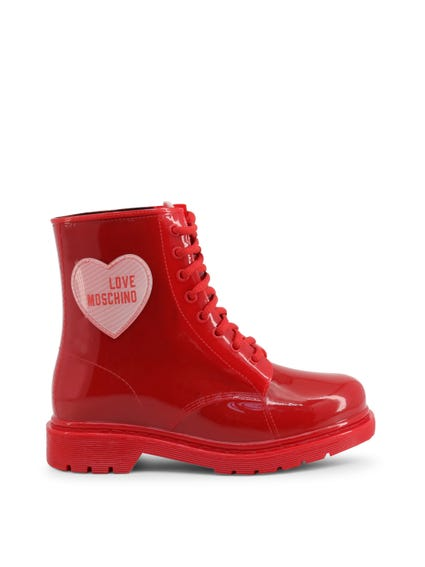 Red Patent Heart Ankle Boots