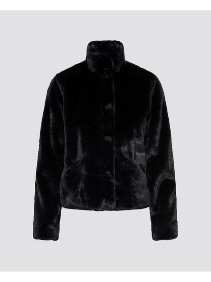 Black Fur High Neck Jacket