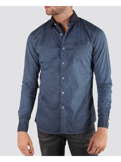 Blue Pattern Design Long Sleeve Shirt