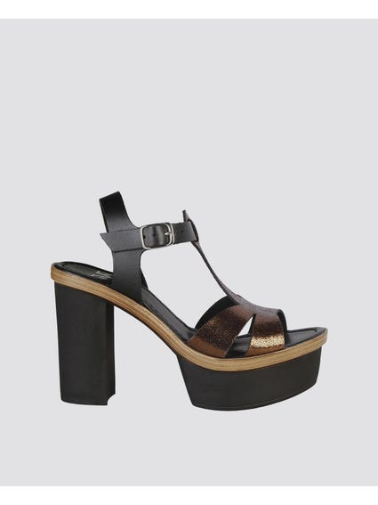 Eglantine Bronzo Block Sandals