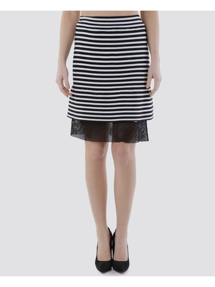 White Striped Elasticated Striped Skirt