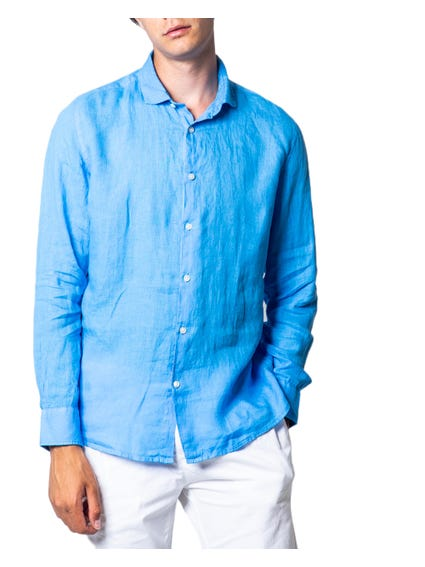 Blue Button Collar Long Sleeve Shirt