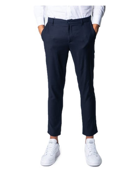 Blue Button Zip Chino Trouser