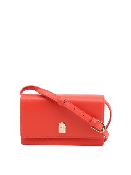 Red Leather Medium Slim Strap Clutch Bag