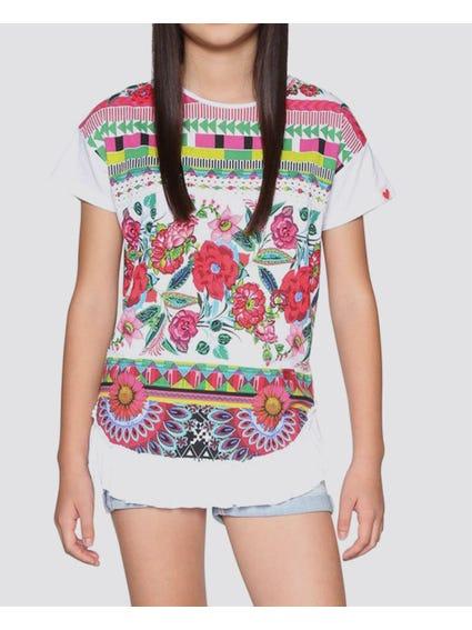 Floral Print Short Sleeves Kids T-Shirt