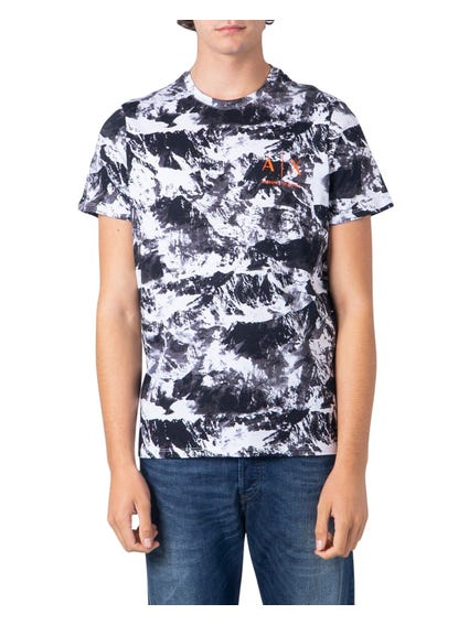 Black Abstract Printed Logo T Shirt