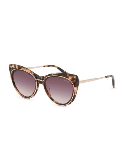 Brown Metallic Temple Earpiece Sunglasses