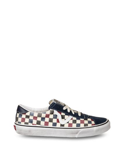 Blue Toe Cap Dirty Checkered Sneakers