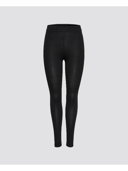 Black Basic Elasticated Leggings
