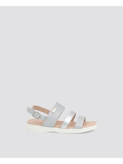 Grey Glitter Strappy Kids Sandals