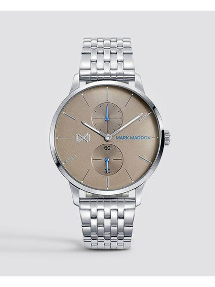 Brown Dial Stainless Steel Analog Watch