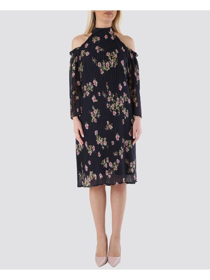 Pleated Floral High Neck Dress