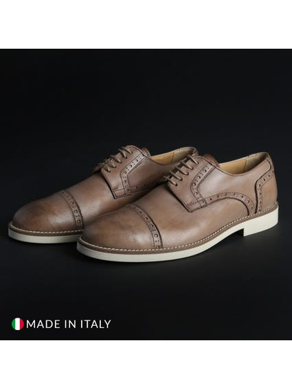 Brown Round Toe Leather Lace Shoes