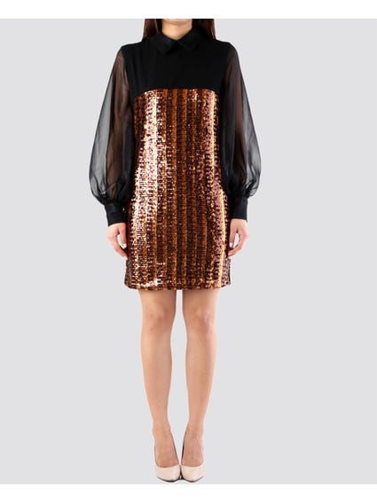 Sequin Balloon Sleeve Dress