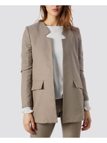 Beige Patterned Open Front Blazer