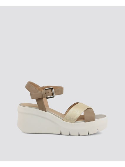 Brown Torrence Cross Strap Wedge Sandals