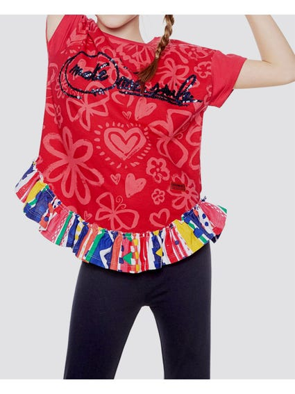 Red Floral Printed Kids Top