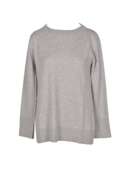 Grey Crew Neck Long Sleeve Knitwear