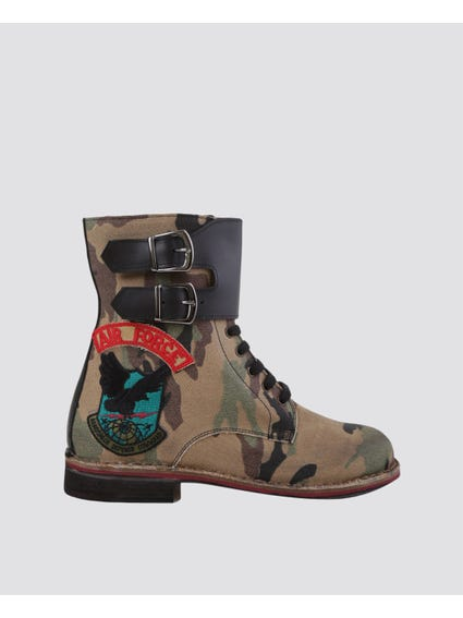 Camouflage Buckle Lace Up Boots