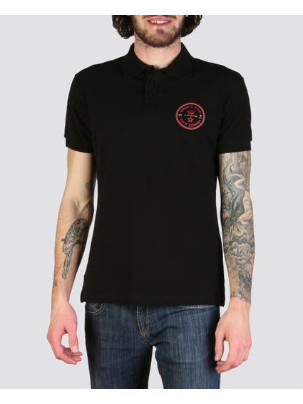 Black Tri-Button Polo Shirt