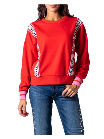 Red Long Sleeve Tape Trim Print Sweatshirt