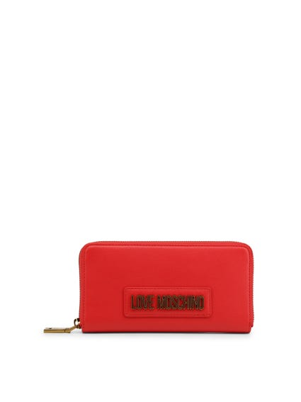Red Leather Zipper Logo Wallet