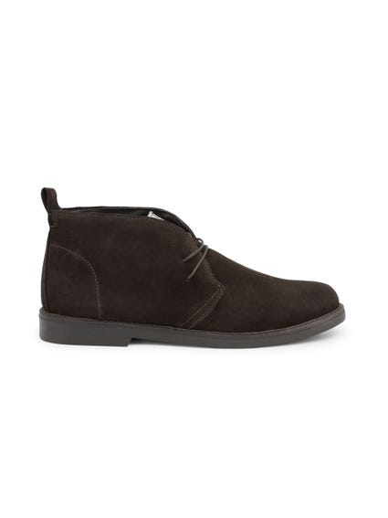 Brown Suede Mid Top Lace Up Shoes