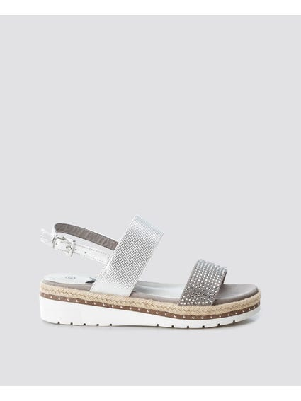 White Embellish Strap Wedge Sandals
