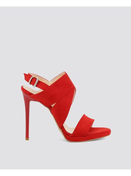 Red Cut Out High Heel Sandals