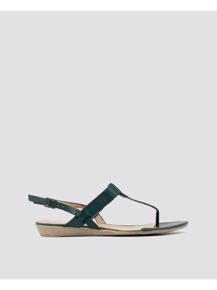 Green Patent Sling Back Sandals