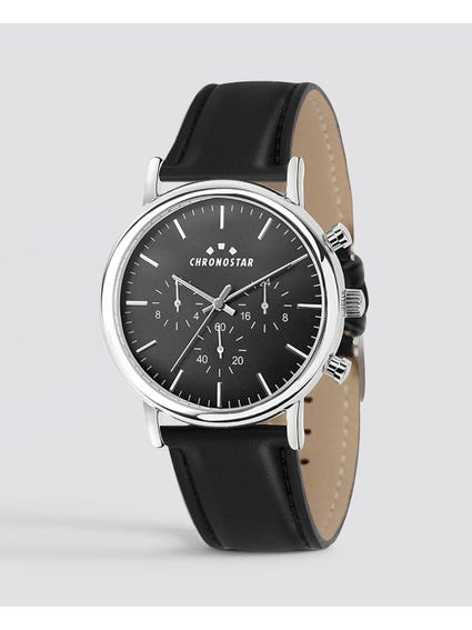 Leather  Strap  Black Dial Analog  Watch