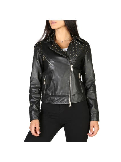 Collar Studs Leather Jacket