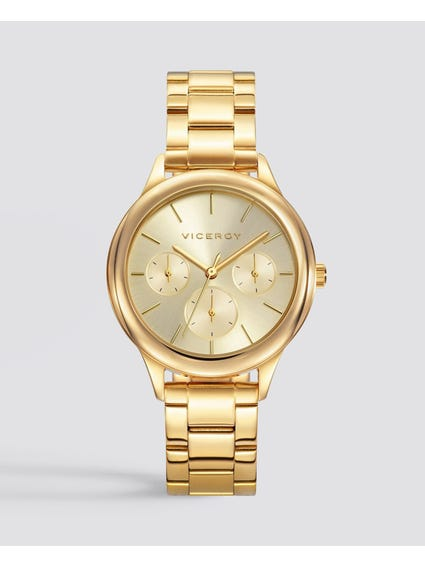 Polished Gold Dial Stainless Steel Watch