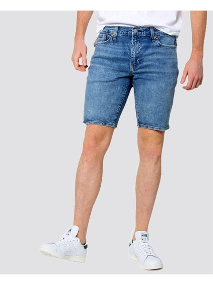 Blue Slim Hemmed Shorts