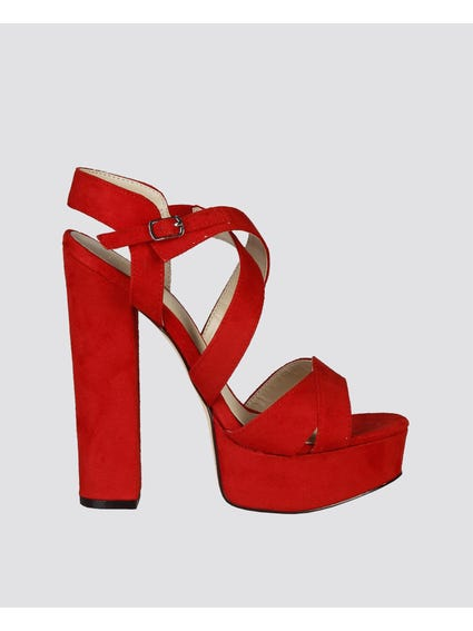 Red Rosso Block Heel Sandals