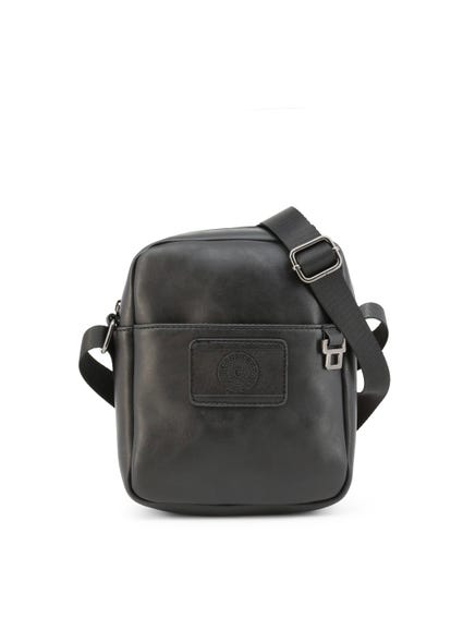 Black Leather Dave Zip Crossbody Bag