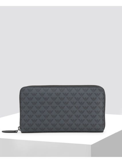 Black Patterned Logo Wallet