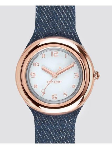 Rose Gold Bezel Analog Quartz Watch