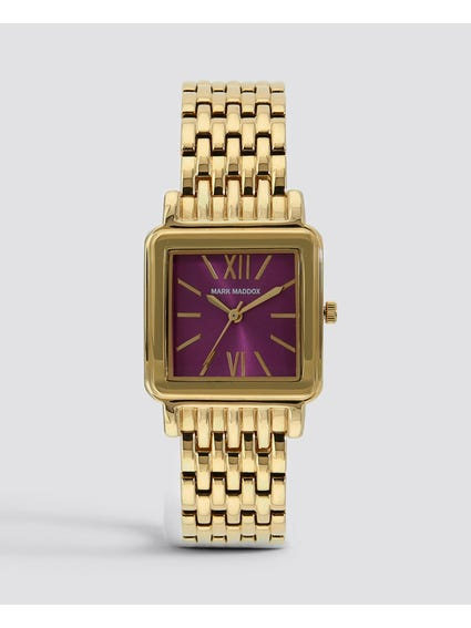 Gold Square Analog Watch