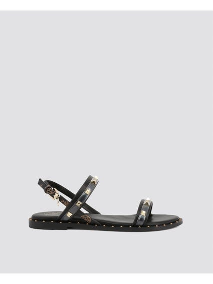 Black Studs Flat Sandals