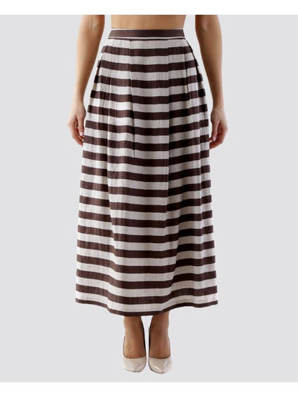 Zipped Pattern Maxi Skirt