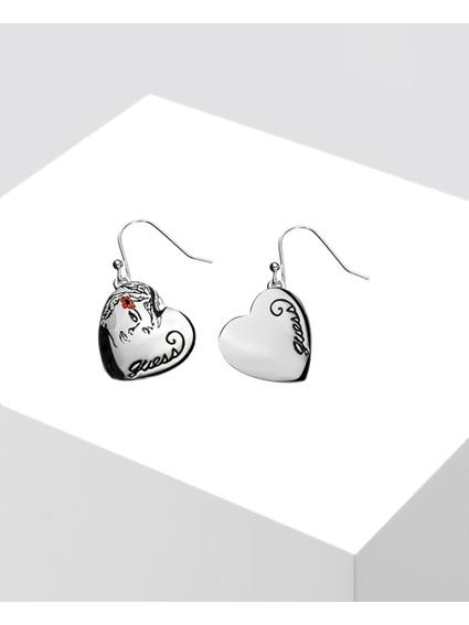 Silver Embellished Heart Earrings