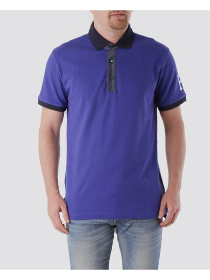 Solid Blue Collar and Sleeves Polo Shirt