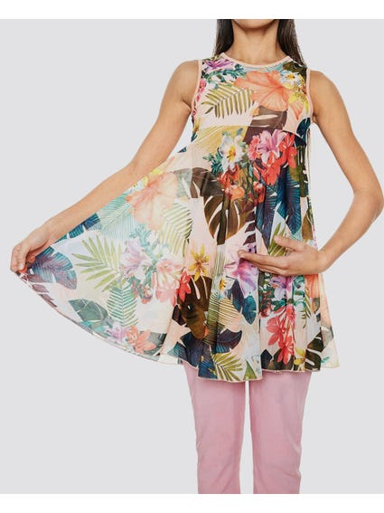 Sleeveless Nature Print Kids Dress
