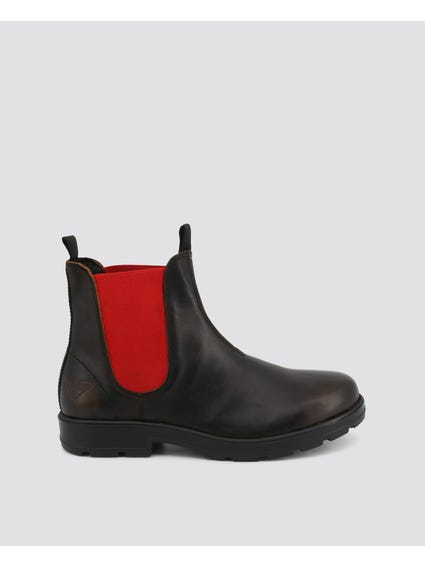 Black Red Jasper Leather Ankle Boots