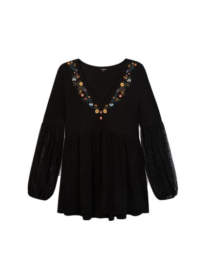 V Neck Embroidered Long Sleeve Top