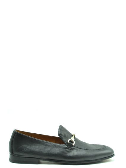 Leather Buckel Slip Ons